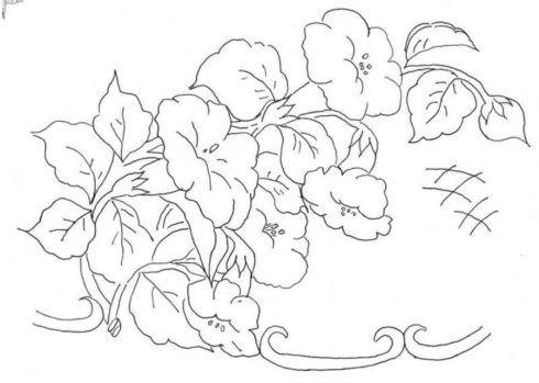 desenho para pintura em tela 2 490x349 Moldes de Desenhos para Pintura em Tecido, veja