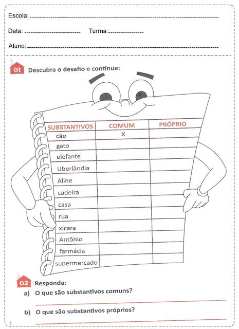 imagem 10 1 Atividades Substantivo Próprio e Substantivo Comum