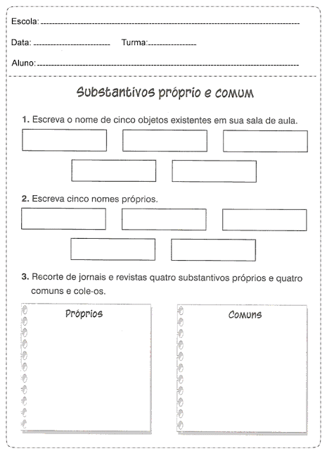 imagem 12 4 Atividades Substantivo Próprio e Substantivo Comum