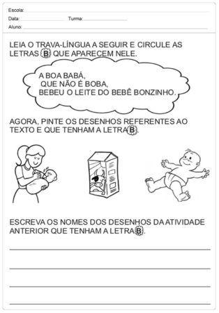 Atividades Trava Língua Infantil para baixar e Imprimir