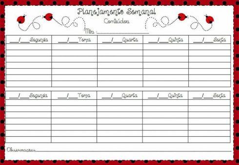 tabela planejamento semanal 490x339 Tabela de planejamento semanal para Imprimir, Modelos