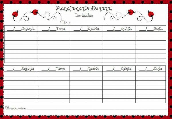 Tabela de planejamento semanal para Imprimir, Modelos