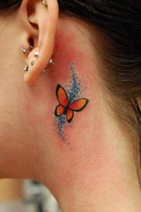 tatuagem borboleta atras da orelha 3 490x737 Tatuagem de Borboleta Feminina, Desenhos, partes do Corpo