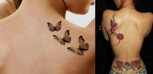 tatuagem borboleta nas costas 2 490x236 Tatuagem de Borboleta Feminina, Desenhos, partes do Corpo