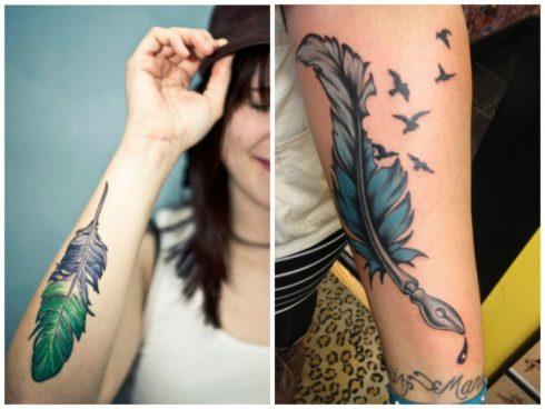 tatuagem de pena feminina no bra%C3%A7o 1 490x368 Fotos Tatuagem de Pena Feminina, Em Várias partes de Corpo