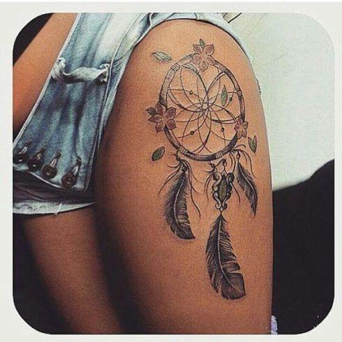 tatuagem filtro dos sonhos na perna 2 490x490 Tatuagem Filtro dos Sonhos Feminina em diversas partes do corpo