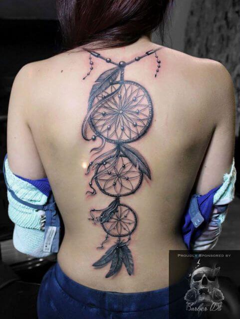 tatuagem filtro dos sonhos nas costas 1 Tatuagem Filtro dos Sonhos Feminina em diversas partes do corpo
