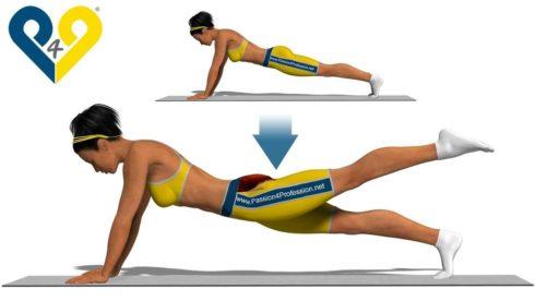 eleva%C3%A7%C3%A3o da perna para tr%C3%A1s 490x276 Exercícios para glúteos na academia : Bumbum empinado