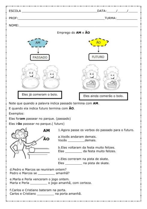 atividades am e %C3%A3o 1 490x693 Atividades am e ão gramática Português para Imprimir