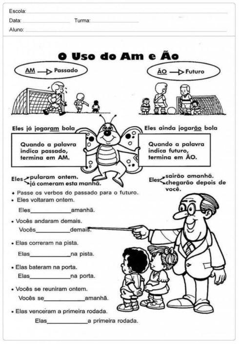 atividades am e %C3%A3o 2 490x703 Atividades am e ão gramática Português para Imprimir